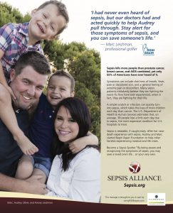 Sepsis Alliance Ad in PGA TOUR Magazine